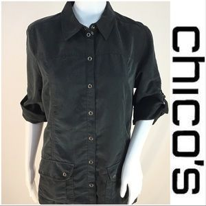 Chico's Black Snap Up Silky Top